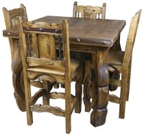 Wirebrush Yugo Leg Table with 4 Chairs