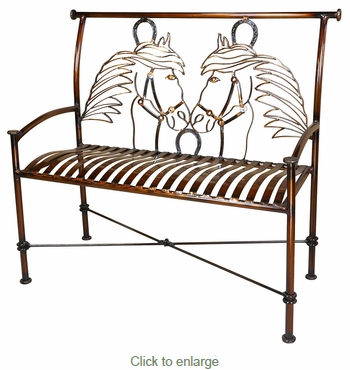 Wrought Iron Bench with Horses