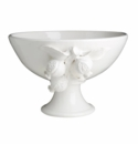 Abigails Bowl Footed White with Pomegranate