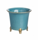 Abigails Cachepot Round Turquoise & Gold Small (Set of 2)