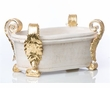 Abigails Centerpiece Oval White with Gold Lea