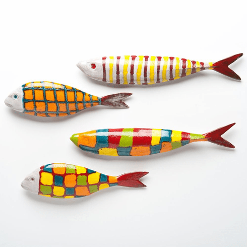Abigails Ceramic Fish Wall Art Set of 4 Assorted