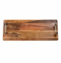Abigails Chalet Reclaimed Wood Tray with Rich Mahogany Finish Long