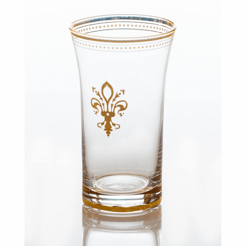 Abigails Clear Glass with Fleur de Lis and Gold Trim (Set of 4)