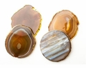 Abigails Brown Agate Coasters with Gold Set of 4