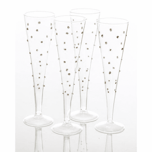Abigails Gatsby Flute with Gold Dots (Set of 4)