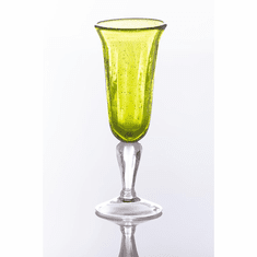Abigails Glass Champagne Glasses with Bubble Army Green (Set of 4)