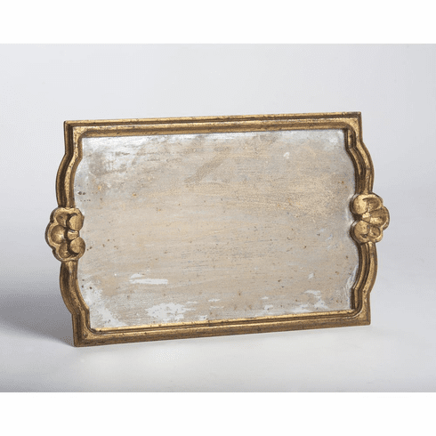 Abigails Gold Antiqued Mirror Tray Large