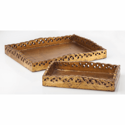 Abigails Gold Wooden Trays (Set of 2)