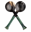 Abigails Horn Salad Server Pair Green Ribbed Handles (Set of 2)