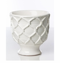 Abigails Large White Planter with Criss Cross Pattern