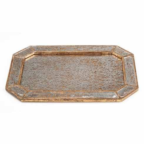Abigails Octagonal Mirrored Tray Gold