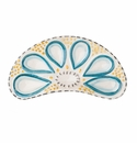 Abigails Oyster Plate Half Round Turquoise & Cream (Set of 2)