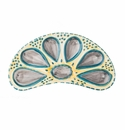 Abigails Oyster Plate Half Round Turquoise & Yellow (Set of 2)