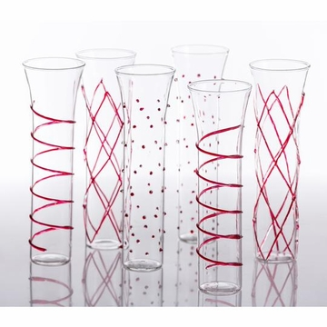 Abigails Razzle Dazzle Red Champagne Flutes (Set of 6)