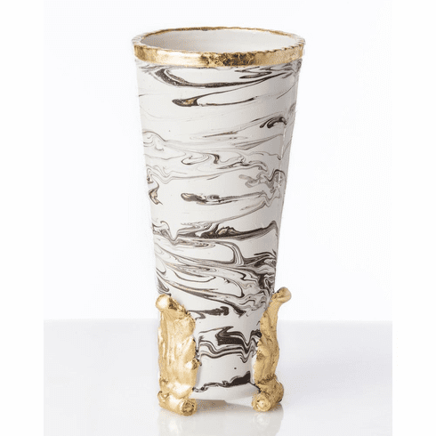 Abigails Roma Marble Acanthus Vase with Gold