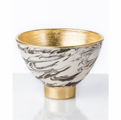 Abigails Roma Marble Footed Bowl with Gold