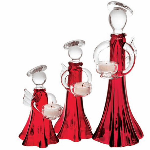 Abigails Ruby Angel Glass Votive Small (Set of 2)