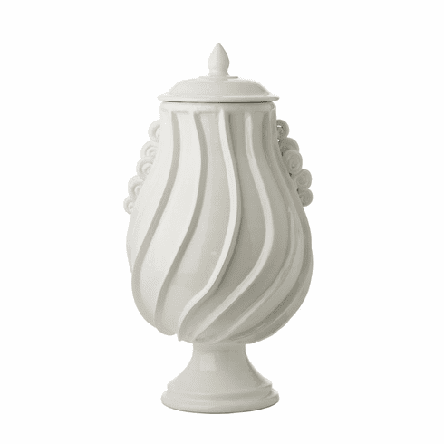 Abigails Santa Barbara Urn with Lid Shiny White