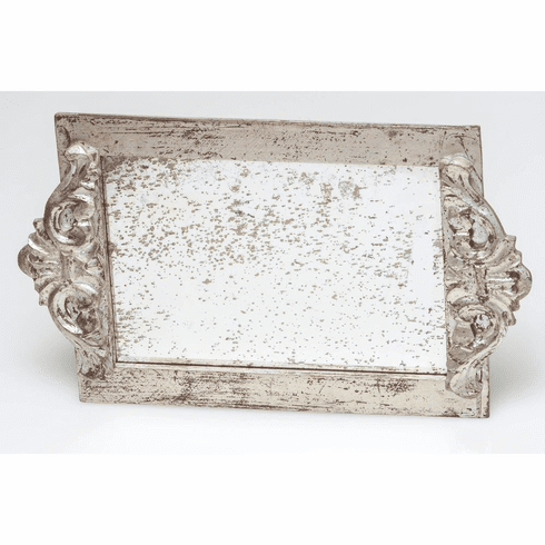 Abigails Silver Leaf Antiqued Mirror Vanity Tray (Set of 2)