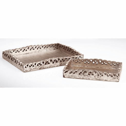 Abigails Silver Wooden Trays (Set of 2)