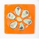 Abigails Square Mango Oyster Plate (Set of 4)