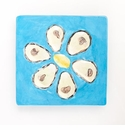 Abigails Square Turquoise Oyster Plate (Set of 4)