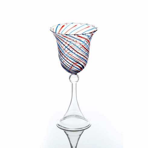 Abigails Swirl Red & Blue Water Glass (Set of 4)