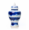Abigails Urn with Lid Medium Blue & White Drip