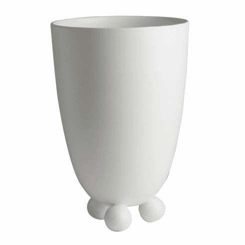 Abigails Vase Footed Matte White Catalina