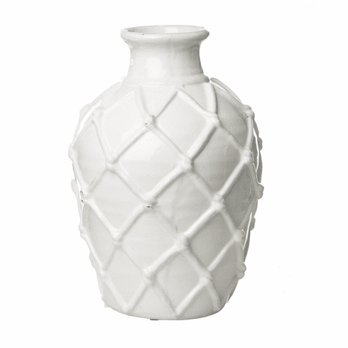Abigails White Vase with Criss Cross Pattern