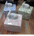 """Andrea by Sadek 3"""" Assorted Covered Boxes with Bunnies Set of 3"""