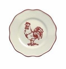 Andrea by Sadek Rooster Salad Plate with Red Trim