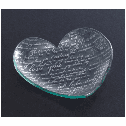 "Annieglass 7"" Heart Plate Sweet Nothings - Platinum"
