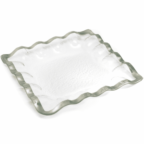 "Annieglass Roman 11.5"" Square Server Platinum Ruffled"