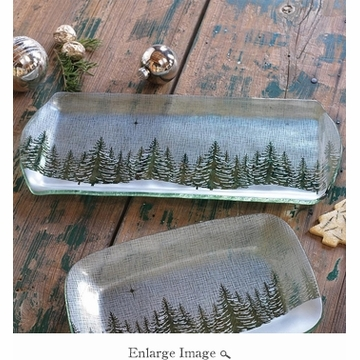 Annieglass Winter Village 14'' X 10'' Party Tray