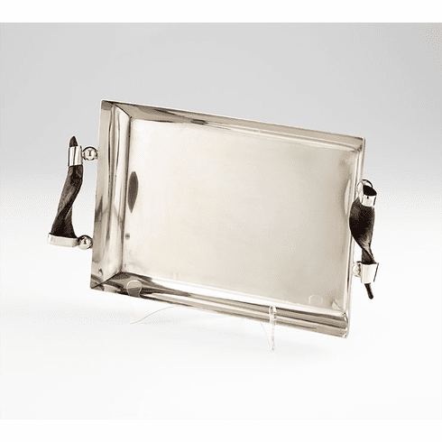 Arezzo Stainless Steel Tray with Horn Handles by Cyan Design