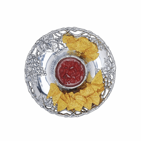 Arthur Court Designs Grape 14 inch Round Chip & Dip Tray