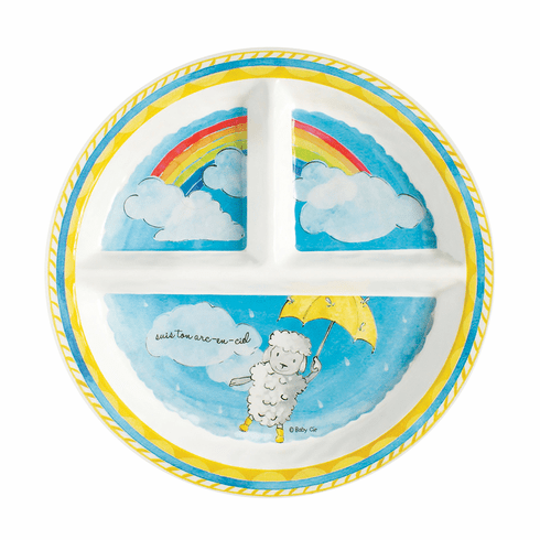 Baby Cie Suis Ton Arc-En-Ciel 'Follow Your Rainbow' - Round Textured Sectioned Plate