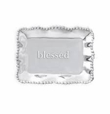 Beatriz Ball Giftables Organic Pearl Rectangular Engraved Tray- Blessed