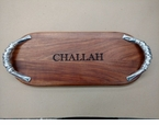 Beatriz Ball Judaica Wood Long Oval - Engraved Challah