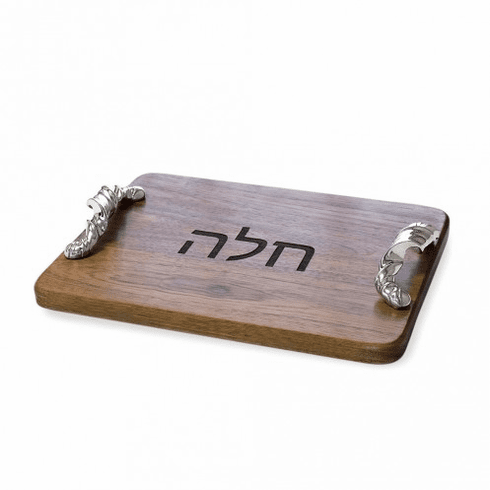 Beatriz Ball Judaica Wood Torza With Hebrew Letters Challah