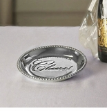 Beatriz Ball Organic Pearl Round Engraved Tray- Cheers