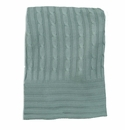 Birchwood Bamboo Cable Knit Clover Green Blanket