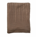 Birchwood Bamboo Cable Knit Gingerbread Brown Blanket