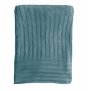 Birchwood Bamboo Cable Knit Lagoon Blue Blanket