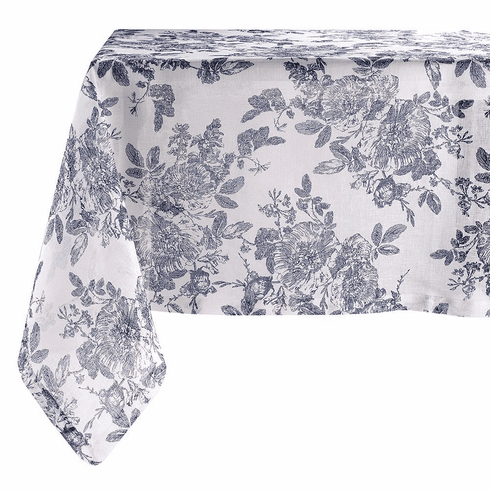 Bodrum French Garden Navy 63 inch x 84 inch Tablecloth