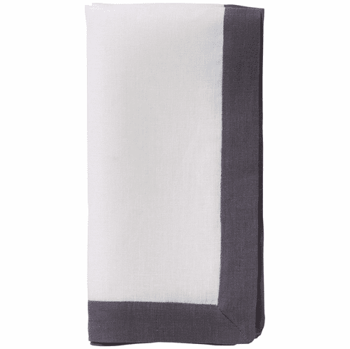 Bodrum Orta White/Charcoal 22 Napkins (Set of 4)