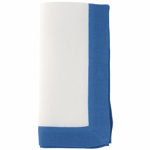 Bodrum Orta White/Periwinkle 22 Napkins (Set of 4)