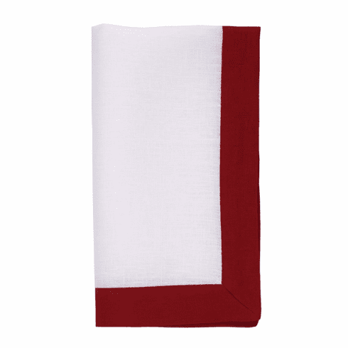 Bodrum Orta White/Red 22 Napkins 4 Pack